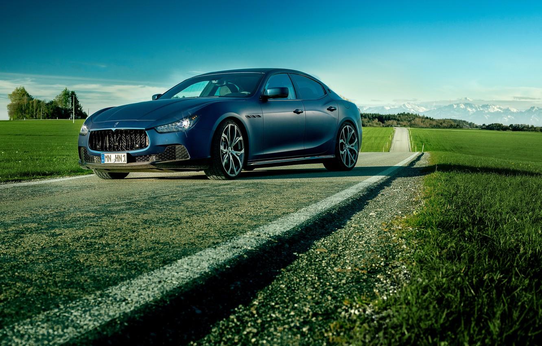 Photo wallpaper blue, photo, Maserati, car, Ghibli, luxury, Novitec Tridente