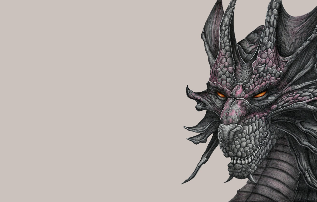 Photo wallpaper face, dragon, painting, light background, dragon
