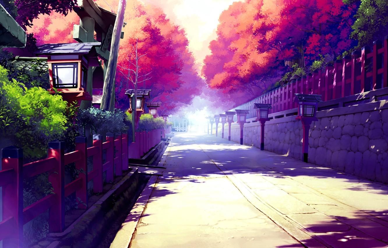 Photo wallpaper the sky, the sun, trees, home, art, shadows, fences, the street
