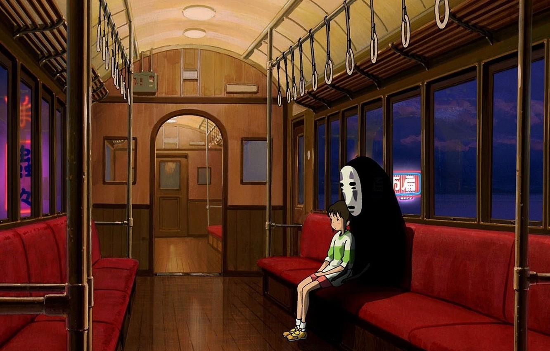 Photo wallpaper anime, cartoon, movie, train, interior, Hayao Miyazaki, film, Spirited Away, Studio Ghibli, seats, Chihiro