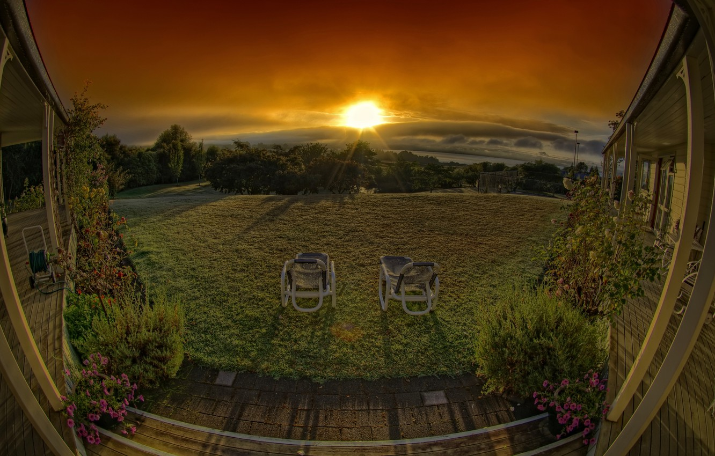 Photo wallpaper clouds, sunset, veranda