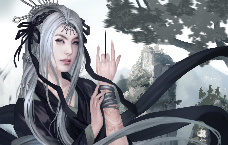 Photo wallpaper girl, decoration, mountains, Asia, hand, art, knife, tattoo, white hair
