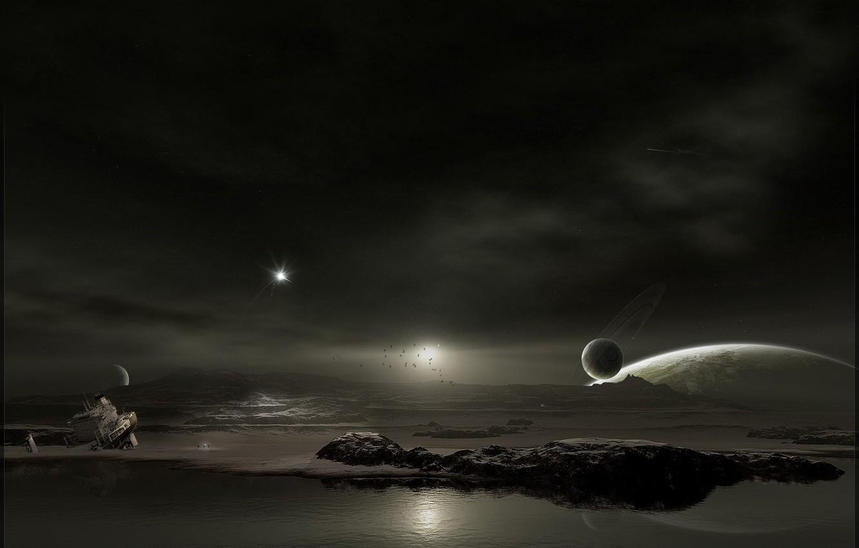 Photo wallpaper water, ship, Planet