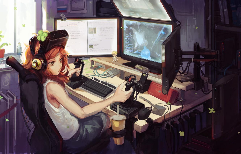 Photo wallpaper computer, girl, the game, art, 4chan, monitors, joysticks, doomfest, vivian james