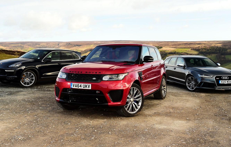 Photo wallpaper Audi, Audi, Porsche, Land Rover, Range Rover, Porsche, range Rover, 2015