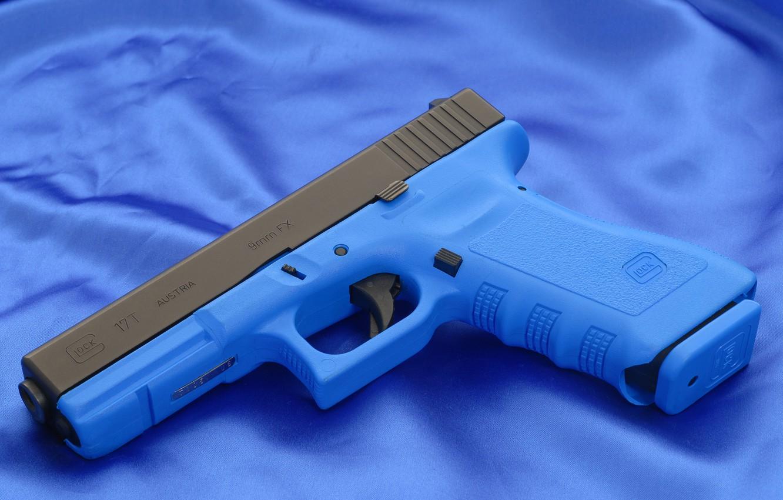 Photo wallpaper Blue, Gun, Austria, Wallpaper, Background, Weapons, Glock, Glock, Wallpapers, Canvas, Austria, Weapons, 17T, 17T