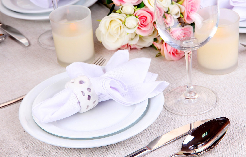 Photo wallpaper decoration, flowers, bouquet, candles, glasses, flowers, table, glasses, bouquet, candles, table decorations