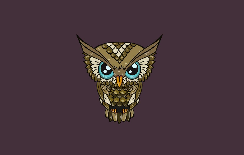 Photo wallpaper the dark background, owl, bird, minimalism, owl