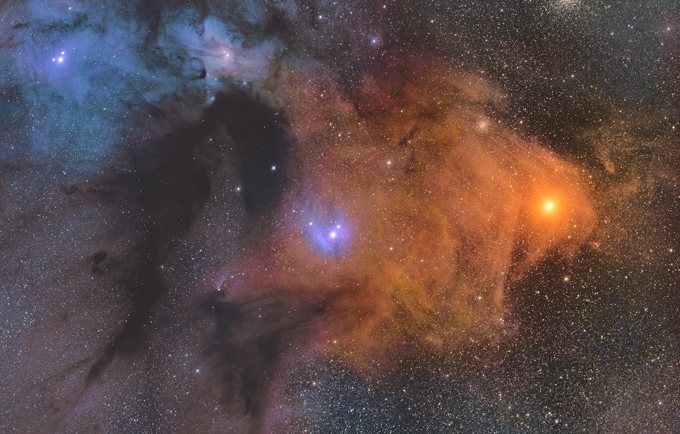 Photo wallpaper cloud, giant, molecular, Rho Ophiuchi, in the constellation of Ophiuchus