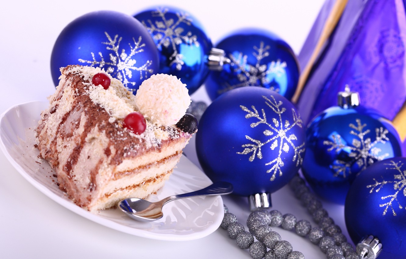Photo wallpaper snowflakes, berries, holiday, new year, spoon, beads, new year, cake, blue, dessert, cake, delicious, silver, …