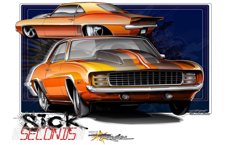 Photo wallpaper orange, 1969, Chevrolet Camaro, Chevrolet Camaro SS, Drag, drag, Sick Second