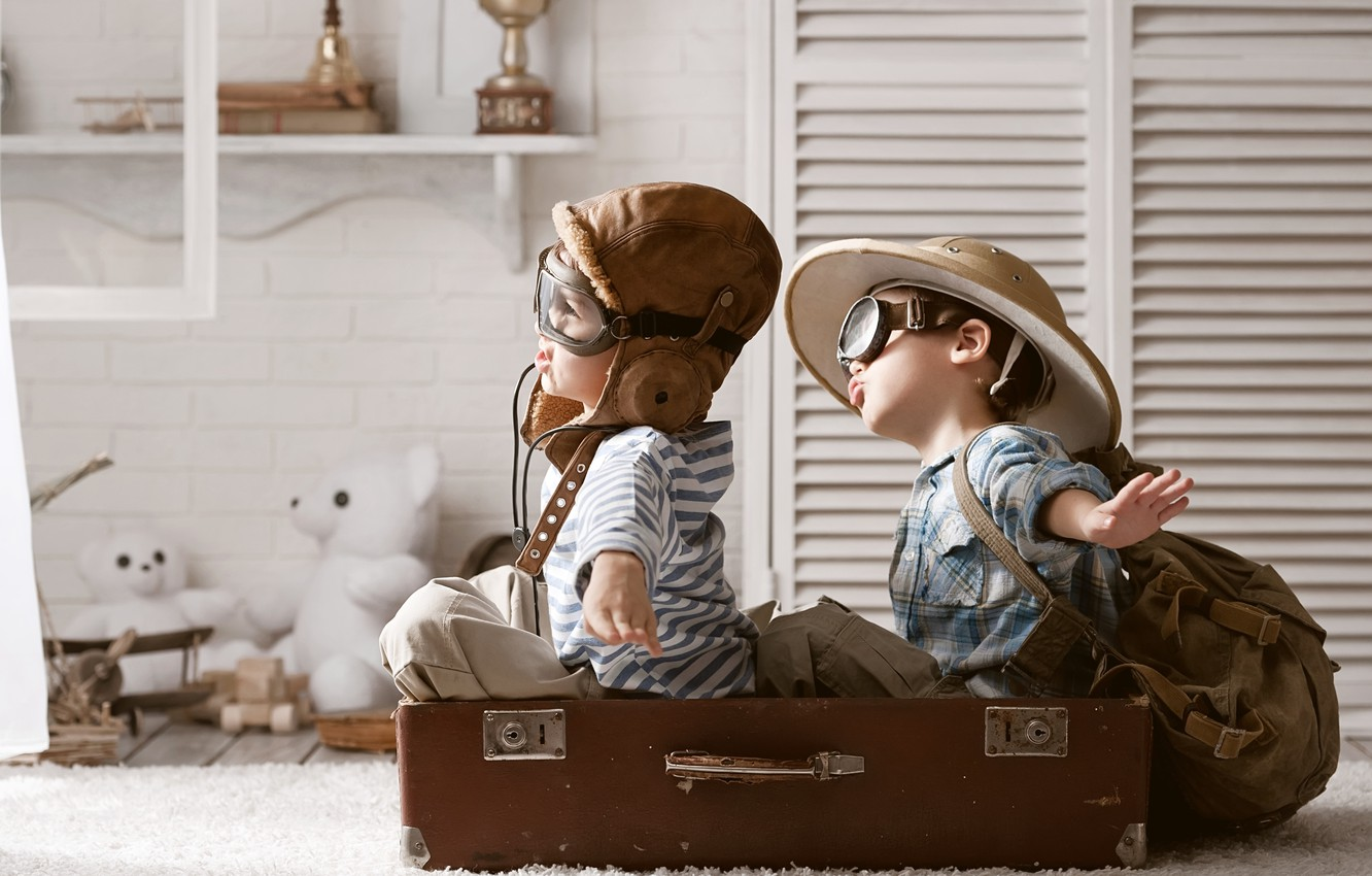243a5cdc Photo wallpaper the game, toys, hat, suitcase, backpack, bears, boys