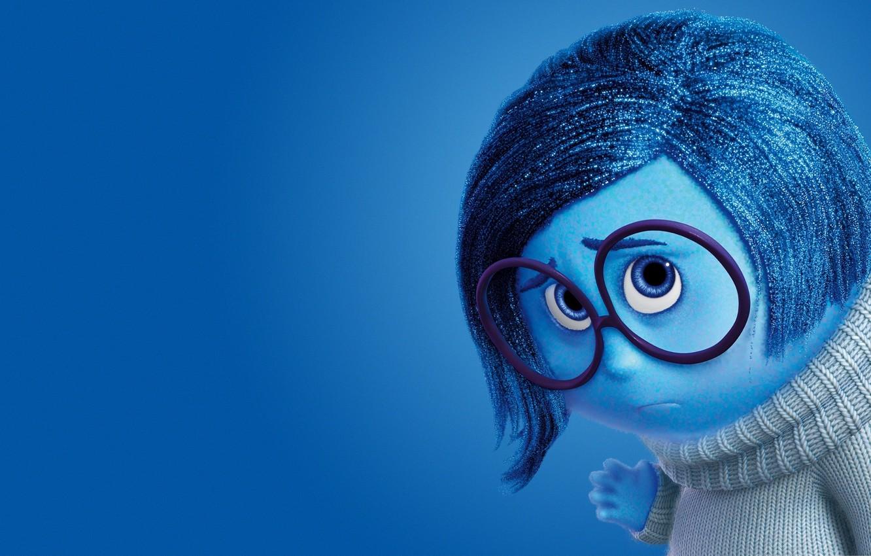 Photo wallpaper girl, sad, blue, sadness, coat, glasses, adventure, 2015, Pixar Animation Studios, five emotions, Inside Out, …