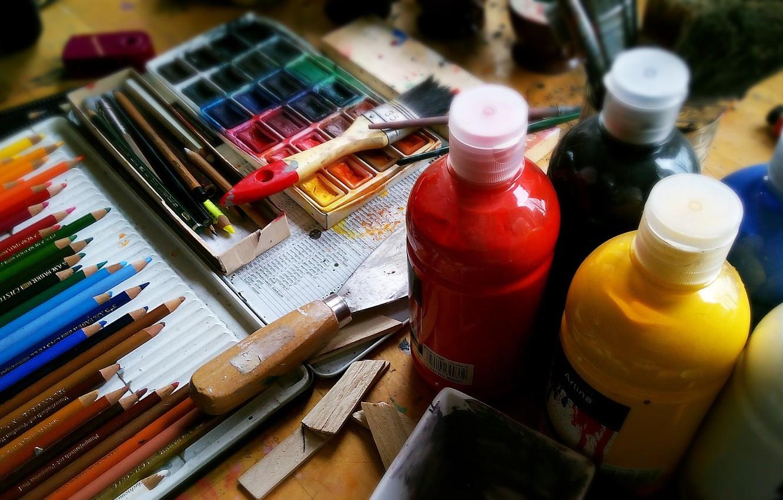Photo wallpaper paint, pencils, watercolor, artist, instrumento, handle, painting, creativity, acrylic