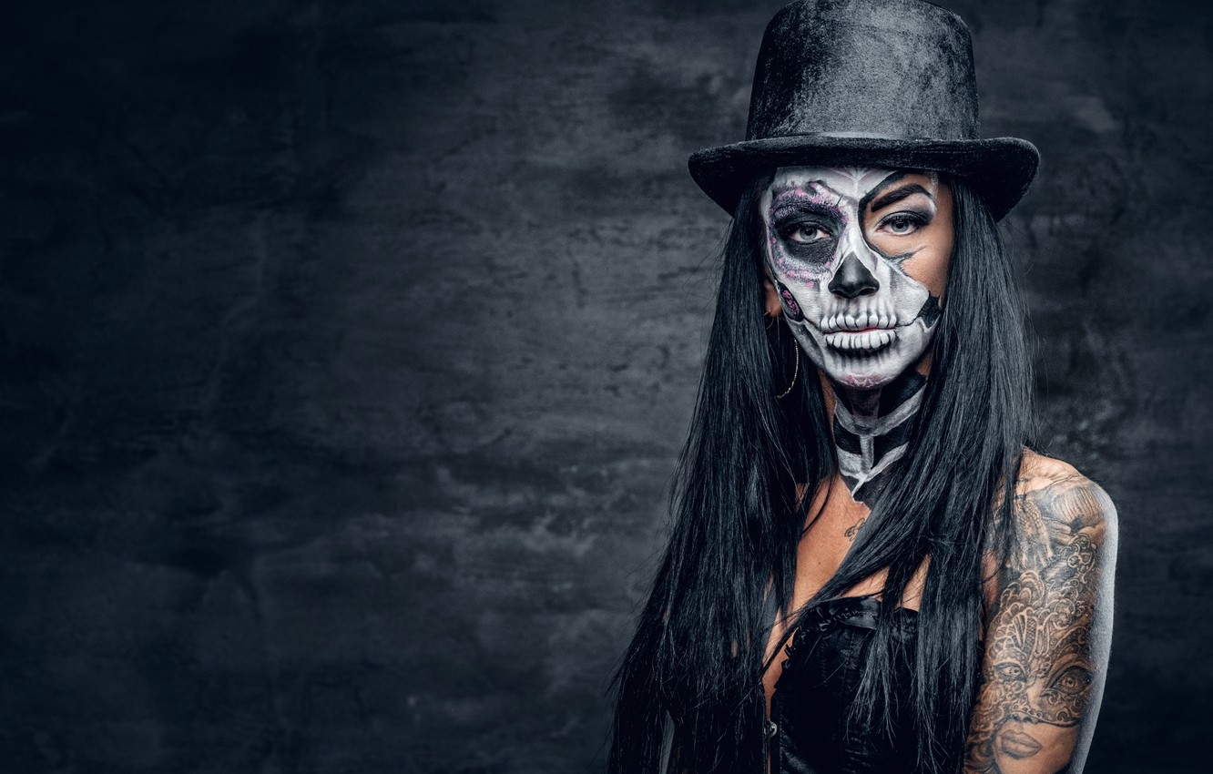 Wallpaper Sake Hat Female Makeup Day Of The Dead Images For