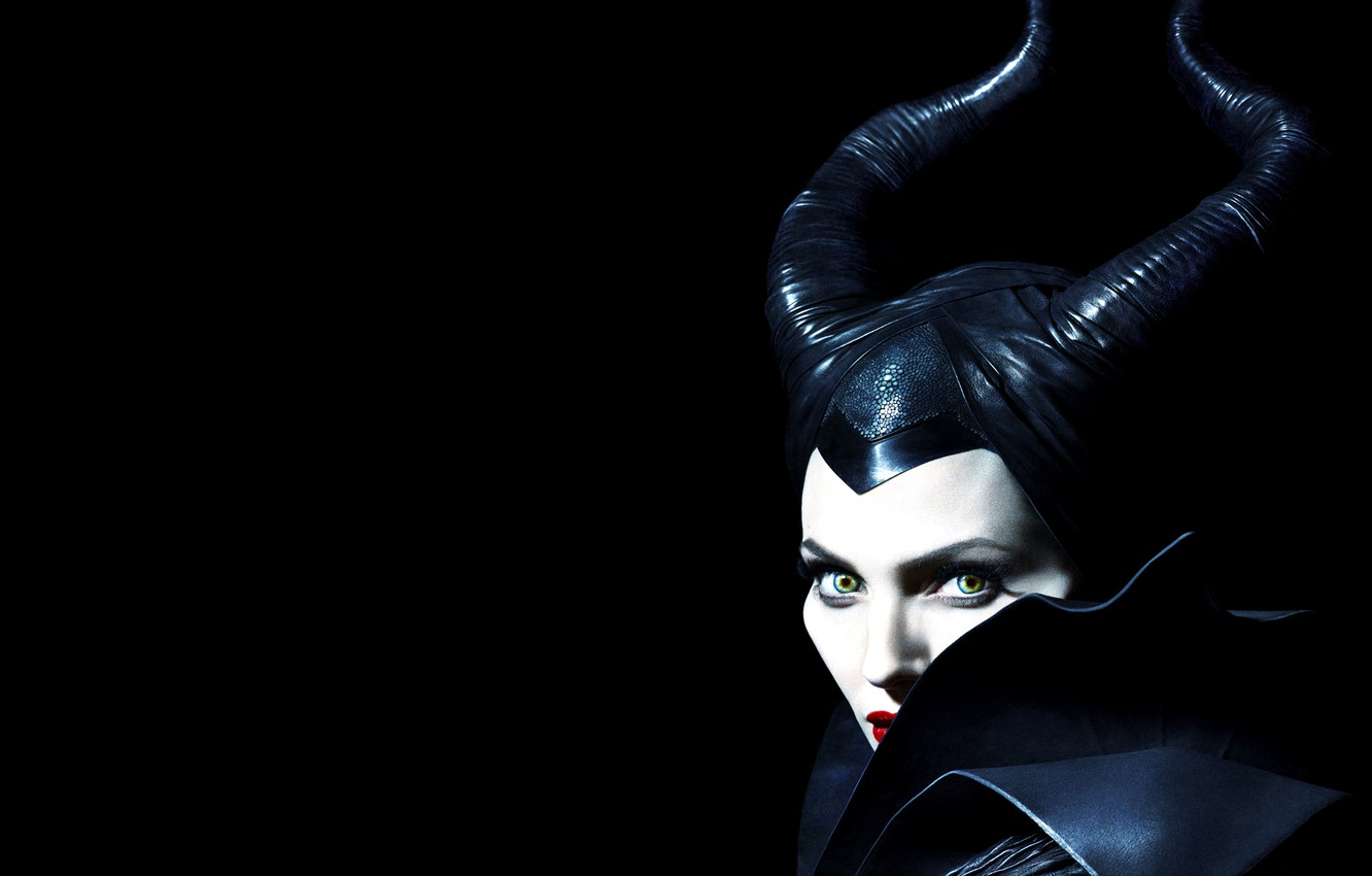 Photo wallpaper look, Angelina Jolie, Angelina Jolie, horns, the witch, black background, Maleficent, Maleficent