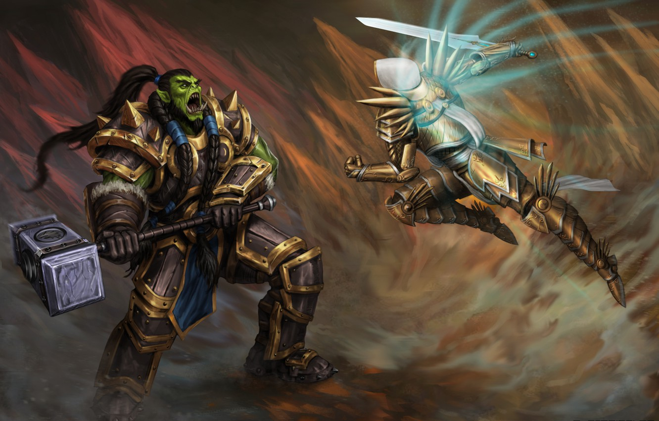Photo wallpaper World of Warcraft, Warcraft, diablo, wow, orc, thrall, Tyrael, Heroes of the Storm