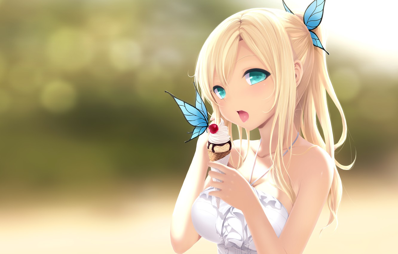 Photo wallpaper butterfly, ice cream, girl, horn, sweet, boku wa tomodachi ga sukunai, kashiwazaki sena