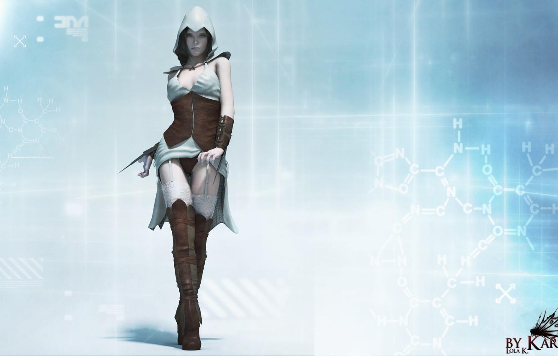 Photo wallpaper look, girl, rendering, Assassin, assassin