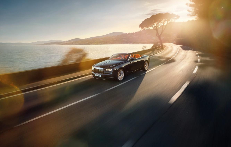 Photo wallpaper road, car, convertible, Rolls-Royce Dawn