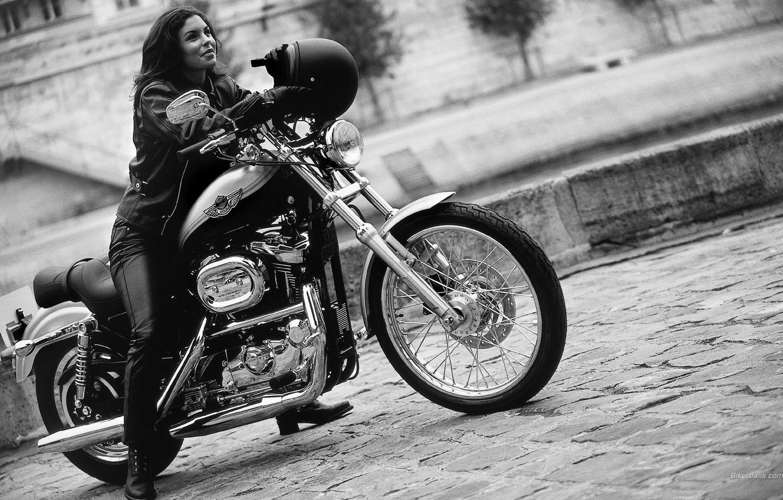 Photo wallpaper girl, motorcycle, helmet, bike, Harley Davidson