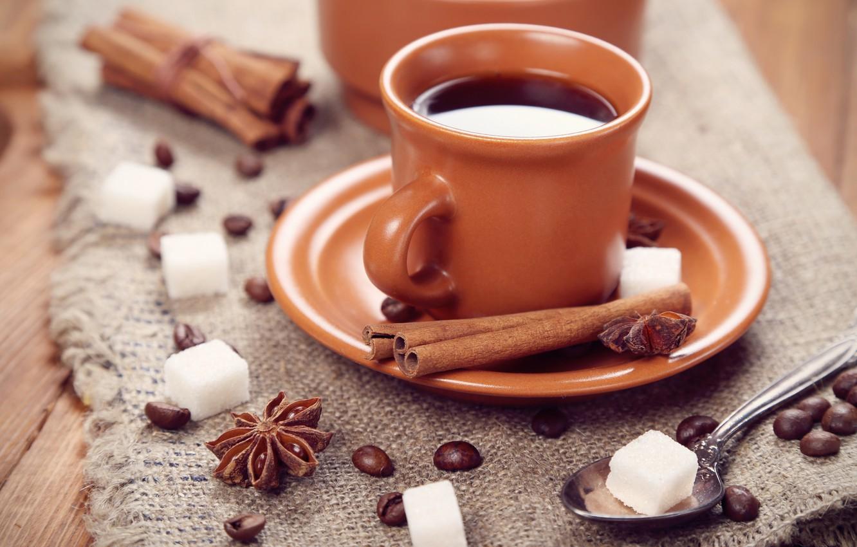 Photo wallpaper coffee, grain, spoon, Cup, sugar, cinnamon, saucer, spices, star anise, Anis
