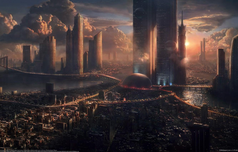 Photo wallpaper clouds, future, skyscrapers, The city