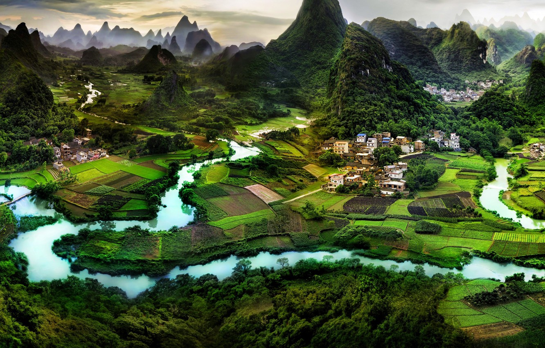 Photo wallpaper nature, the city, China, Asia, village, panorama, asia, china, guilin, Guilin