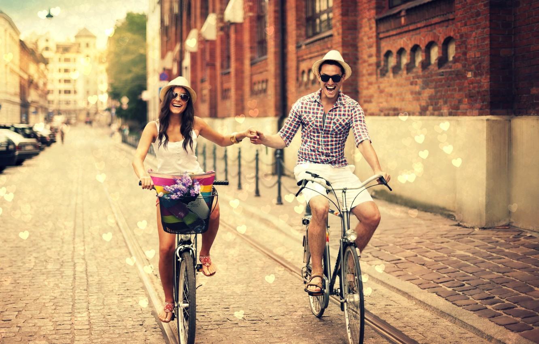 Photo wallpaper girl, joy, flowers, the city, smile, background, widescreen, Wallpaper, street, basket, mood, positive, hat, glasses, …