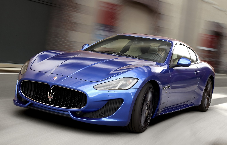 Photo wallpaper Maserati, Road, Blue, Sport, Machine, Movement, Machine, Maserati, Car, Car, Cars, Blue, GranTurismo, Sport, Cars, …