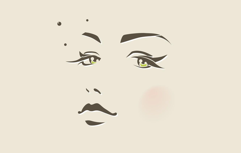 Photo wallpaper eyes, girl, circles, face, minimalism, vector, nose, lips, mole, beige, pupils, blush, face
