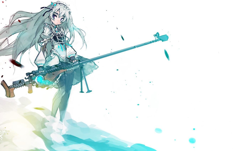 Photo wallpaper girl, weapons, barrette, sniper rifle, Chaika the coffin, Hitsugi no Chaika, Chaika Trabant