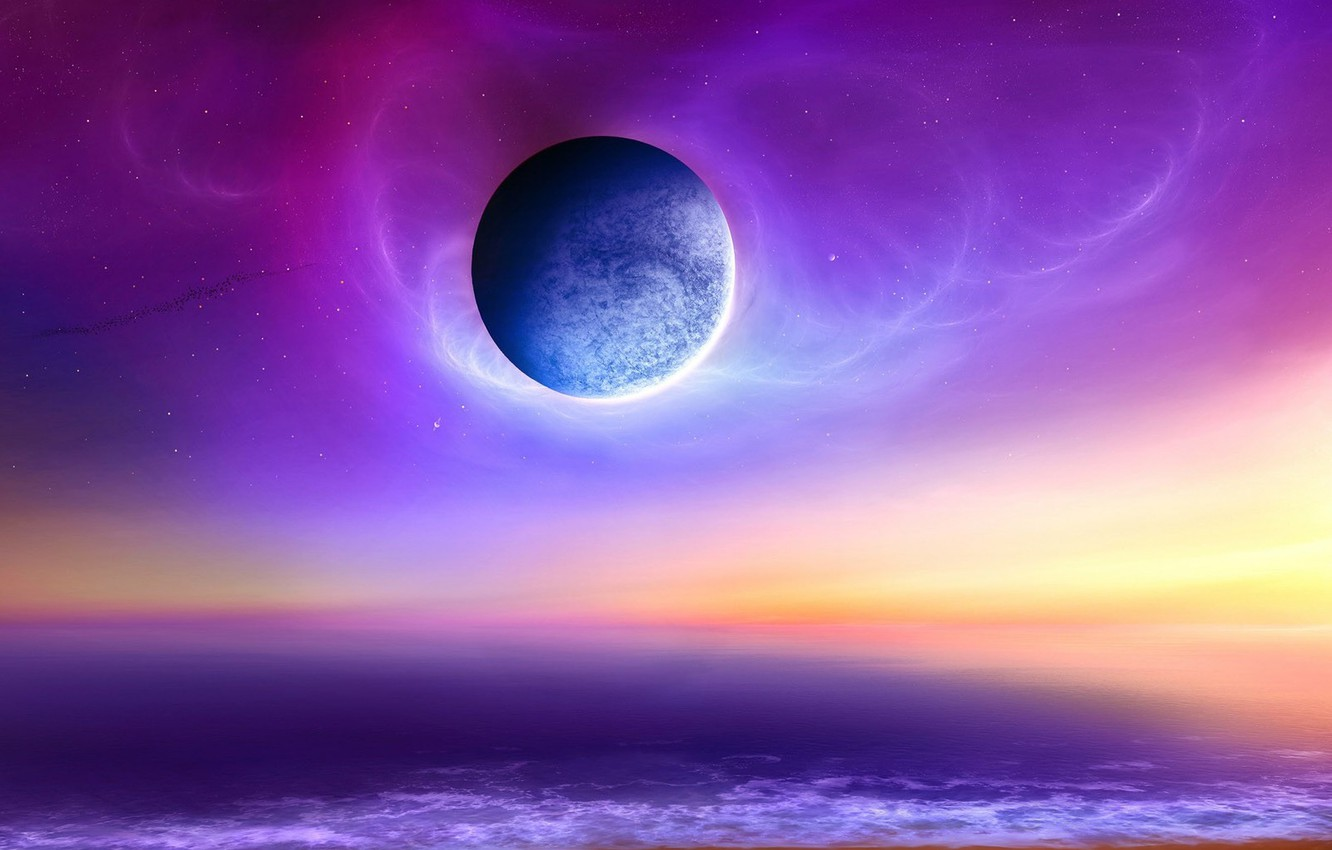 Photo wallpaper sea, the sky, space, planet