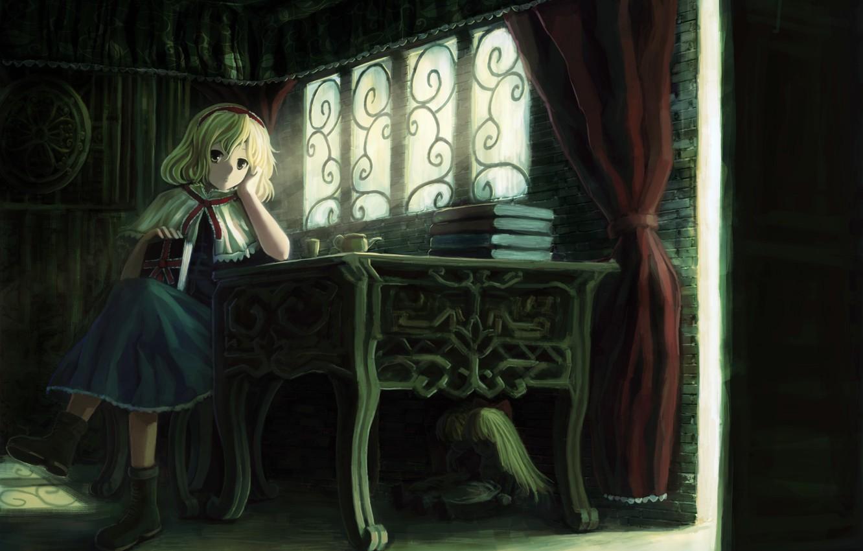 Photo wallpaper girl, table, room, books, doll, the door, art, Cup, touhou, alice margatroid, oto taku, shanghai, …