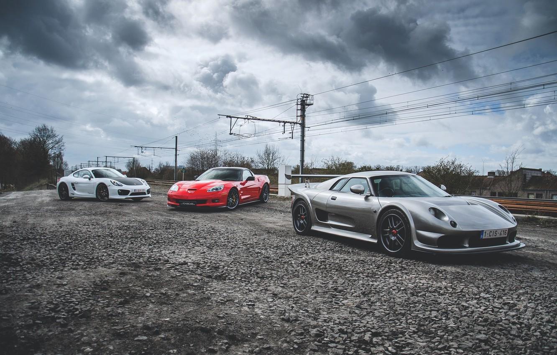 Photo wallpaper Porsche, Corvette, ZR1, Noble, Cayman S, M12, GTO3