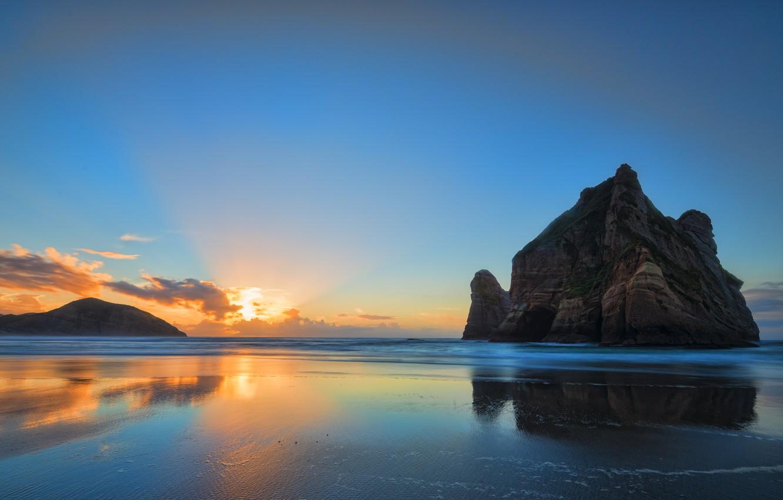 Photo wallpaper beach, sunrise, rocks, orange clouds