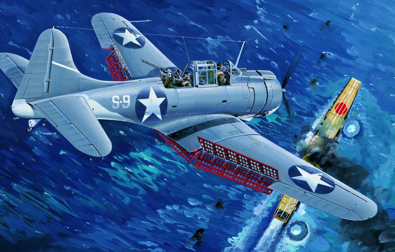 Wallpaper bomber, war, art, airplane, painting, ww2, Douglas