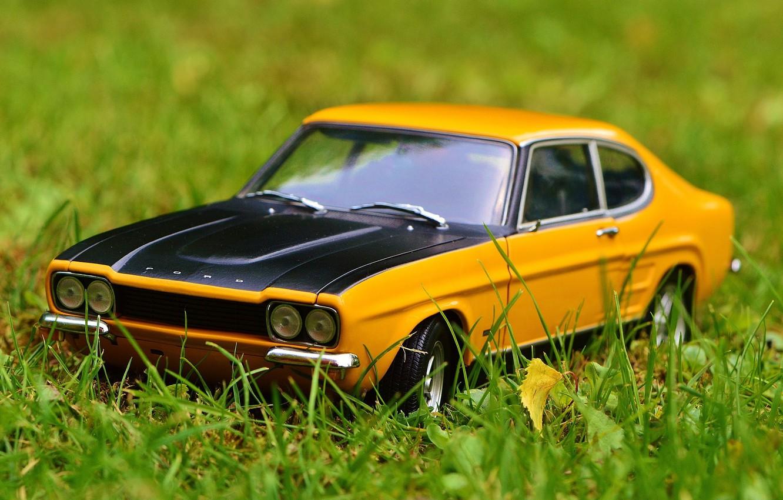 Photo wallpaper auto, toy, car, ford, classic, in the grass, model, Oldtimer, capri, car model