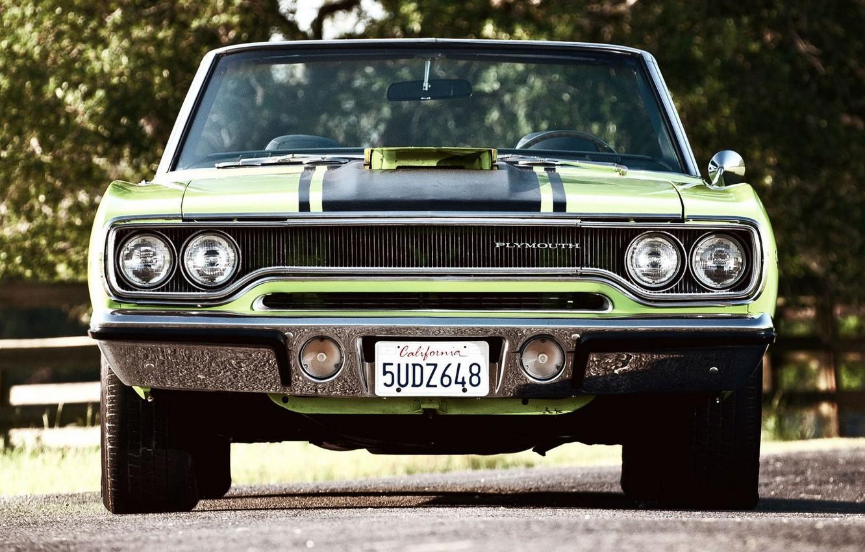 Photo wallpaper Green, Machine, Car, Beautiful, Green, 1970, Plymouth, Wallpapers, Beautiful, Convertible, Plymouth, Wallpaper, Road Runner, Automobiles, …
