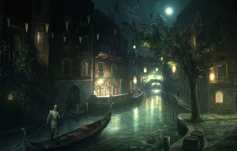 Photo wallpaper night, the city, the moon, boat, Venice, Assassin's Creed 2