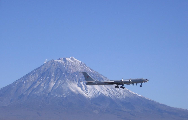 Photo wallpaper the sky, mountain, the rise, strategic bomber, Long-range aviation, Tu-142
