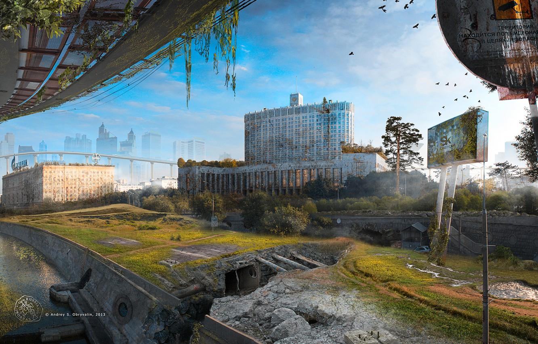 Photo wallpaper the city, Apocalypse, Moscow, devastation, pustosh, Skolkovo-St.Petersburg II