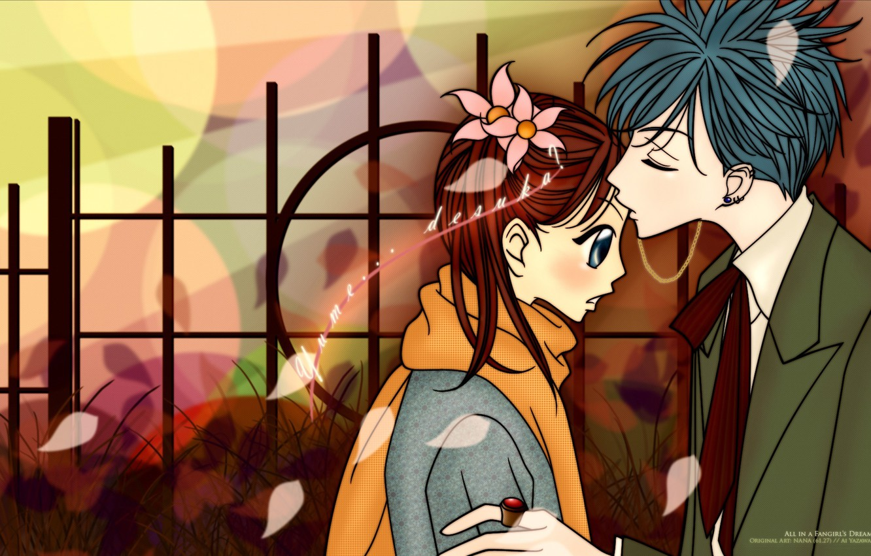 Photo wallpaper kiss, petals, scarf, piercing, costume, two, ring, art, ai yazawa, Nan, nana, nana komatsu, shinichi …