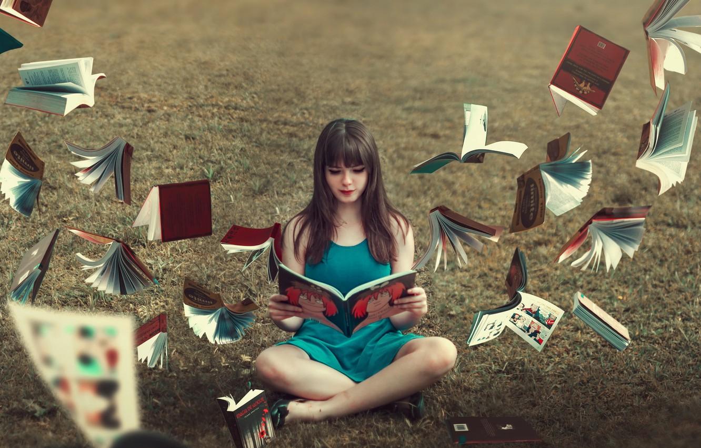 Photo wallpaper girl, background, books