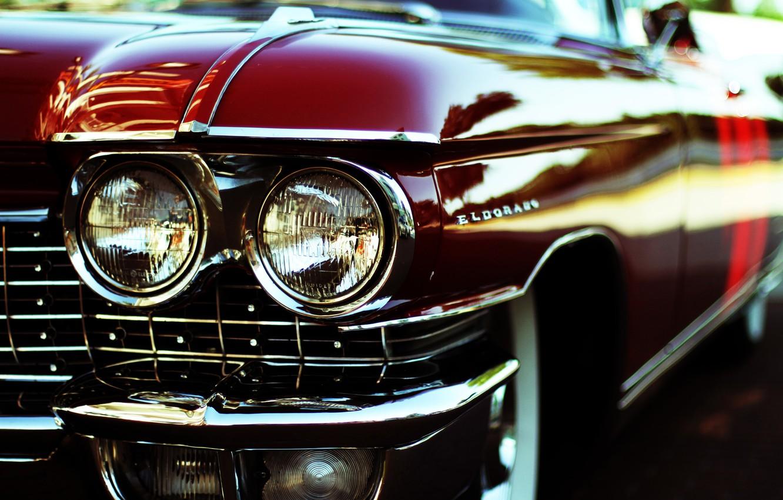 Photo wallpaper car, red, Eldorado, lights, Cadillac, chrome, body, bumper, retro, Cadillac, luxury, oldschool, Eldorado