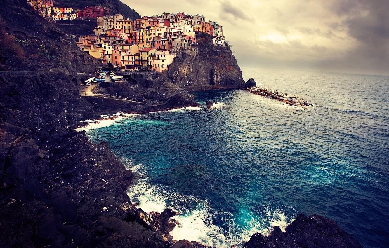 Photo wallpaper sea, landscape, rocks, coast, home, Italy, Italy, Manarola