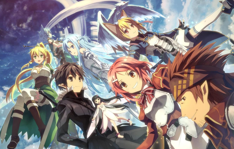 Photo wallpaper the sky, girls, dragon, elves, armor, guys, yuuki tatsuya, dragon, elf, sword art online, kirito, …