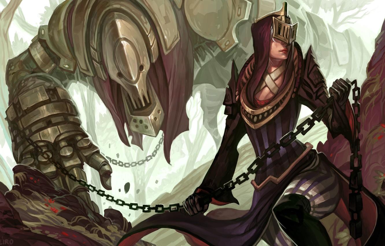 Wallpaper Girl Woman Figure Monster Mask Fantasy Art