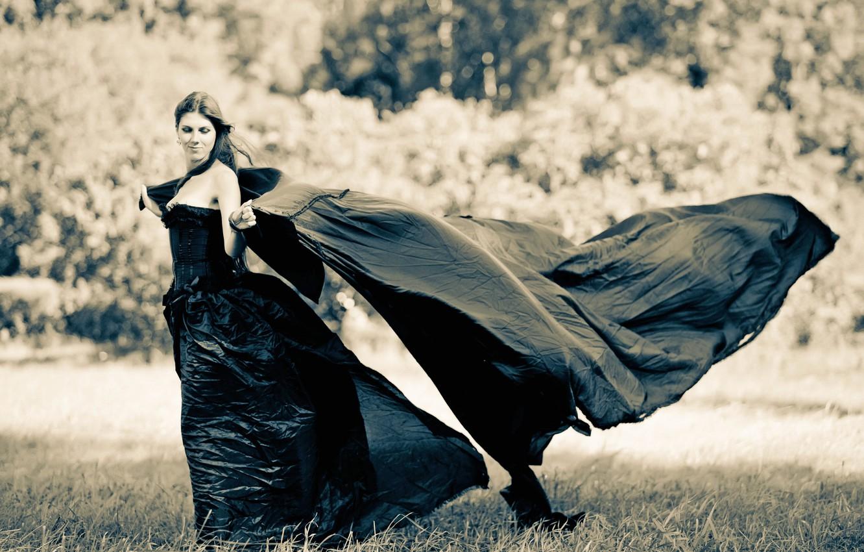 Photo wallpaper grass, girl, nature, the wind, black, dress, brunette