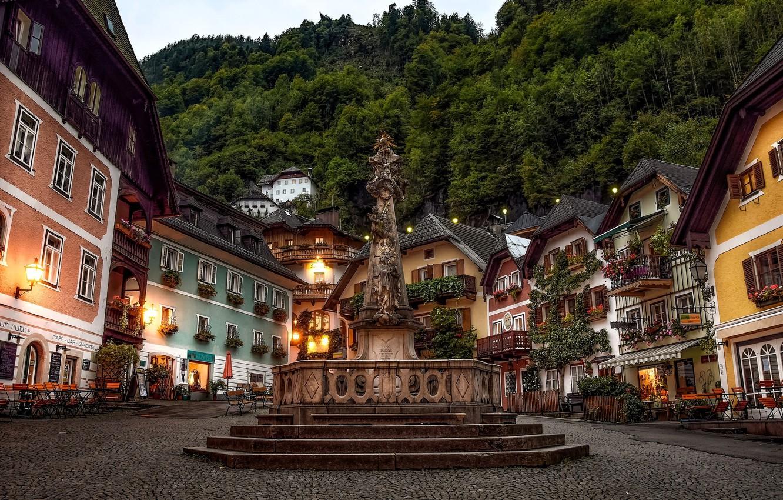 Photo wallpaper building, Austria, area, monument, Austria, Hallstatt, Hallstatt, Marian columns, Marketplace, Market square, Upper Austria, Plague …